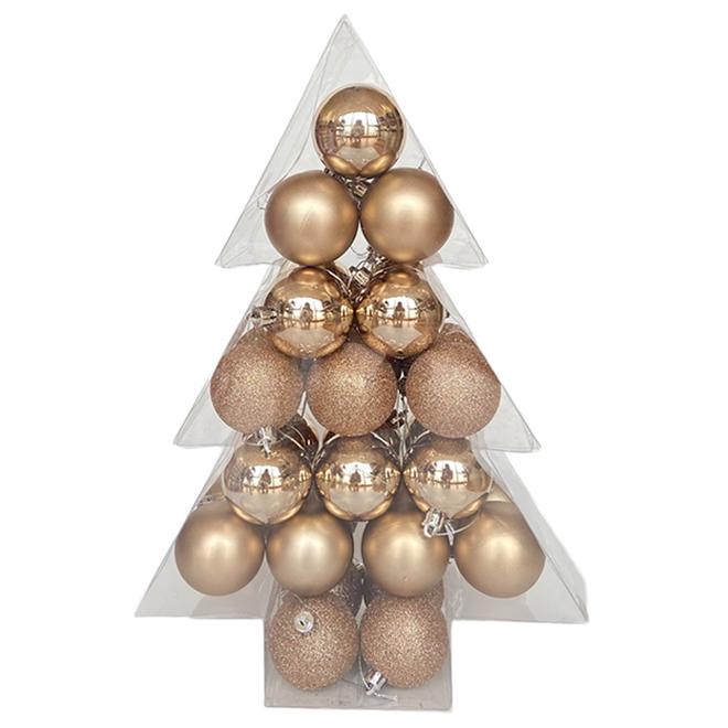 Boules de Noël Holiday Living, Noël au chalet, champagne, 34/pqt