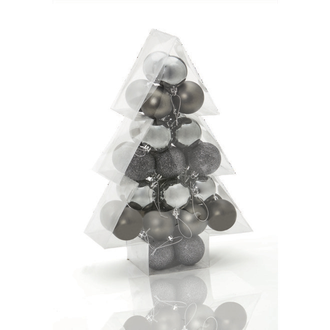 Holiday Living Christmas Balls - Friendly Forest - Dark Silver - 34/Pack