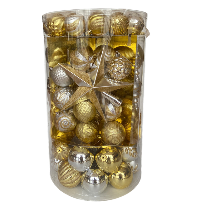 Holiday Living Mixed Christmas Ball Ornaments - Shatterproof - Plastic - Gold/Silver - 110/Pack