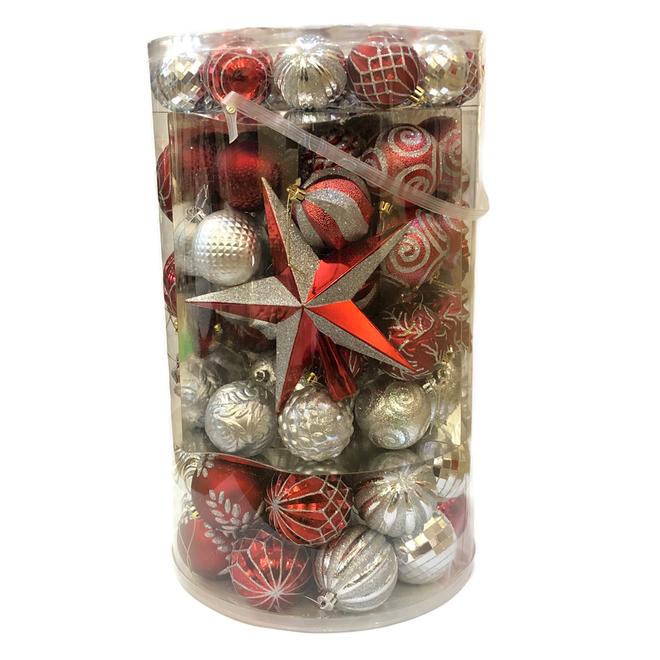 Boules de Noël mixtes Holiday Living, incassables, plastique, argent/rouge, paquet de 110
