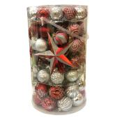 Boules de Noël mixtes Holiday Living, incassables, plastique, argent/rouge, paquet de 110