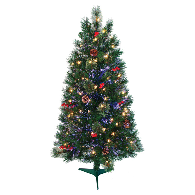 UBERHAUS 100-Light Fiber Optic Christmas Tree- 152 Tips- 4' 6551 ...