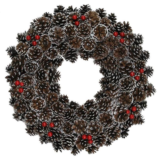 "Pine Cone Wreath - 20"" - Brown"