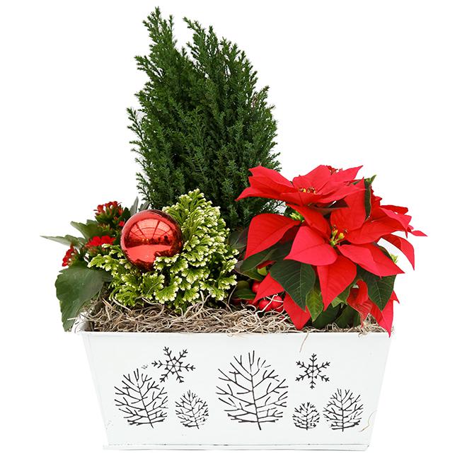 Arrangement floral du temps des fêtes, pot décoratif