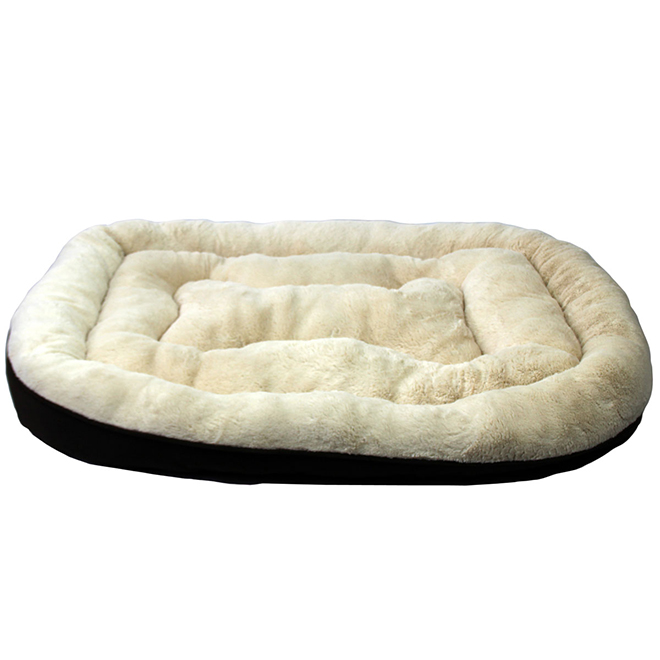 Plush Dog Bed - Extra Large - Brown/Beige