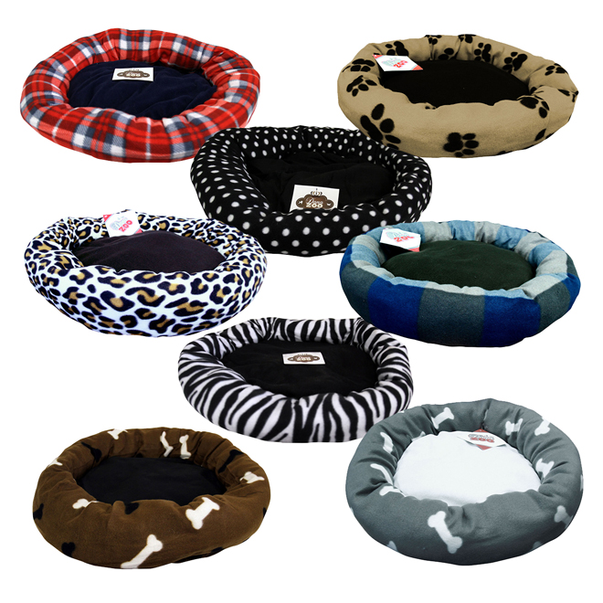 """Round Plush Pet Bed - 23"""" x 23""""- Assorted"""