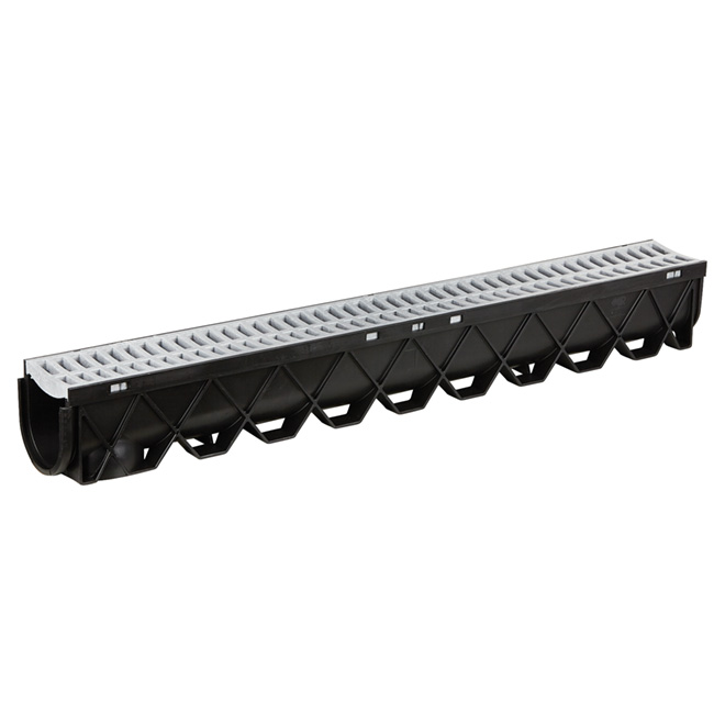 """40"""" Storm Drain Channel with Portland Grey Grate"""