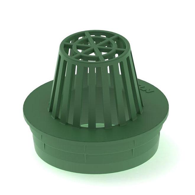 """Grille atrium, 4"""", plastique, vert"""
