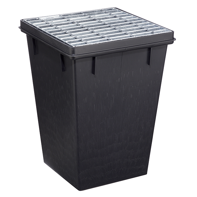 "Retaining Basin with Steel Grate - 17"" x 17"" - Black"