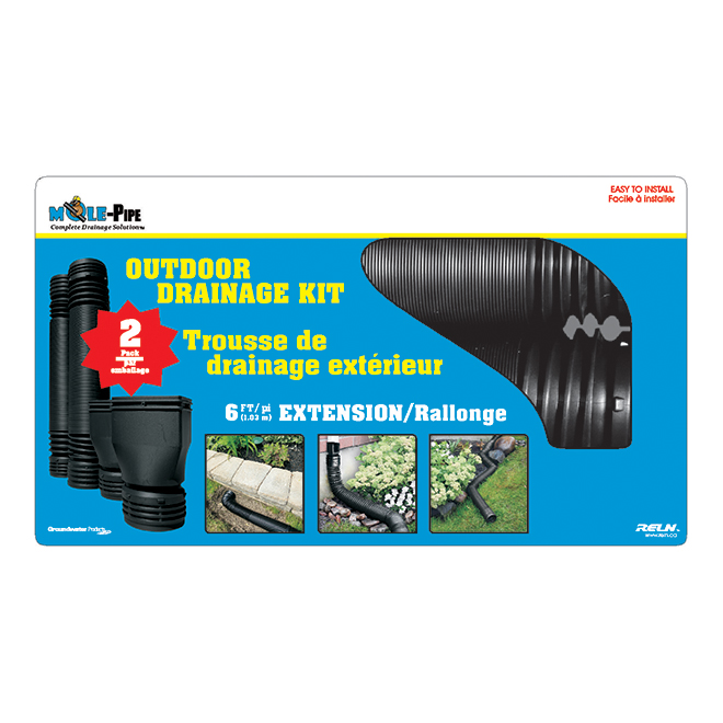 Mole-Pipe Plastic Downspout Extension Kit - Black - 2/Pack