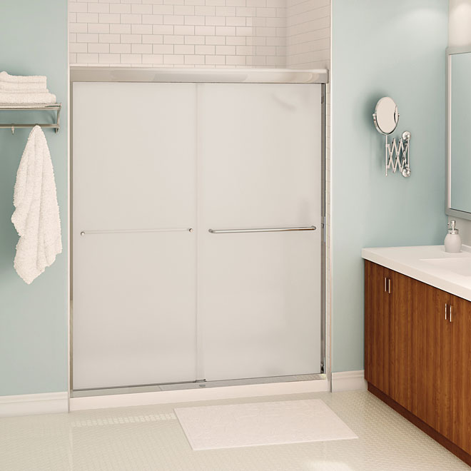 Maax Aura Sliding Shower Door - Frosted Glass - 59-in x 71-in