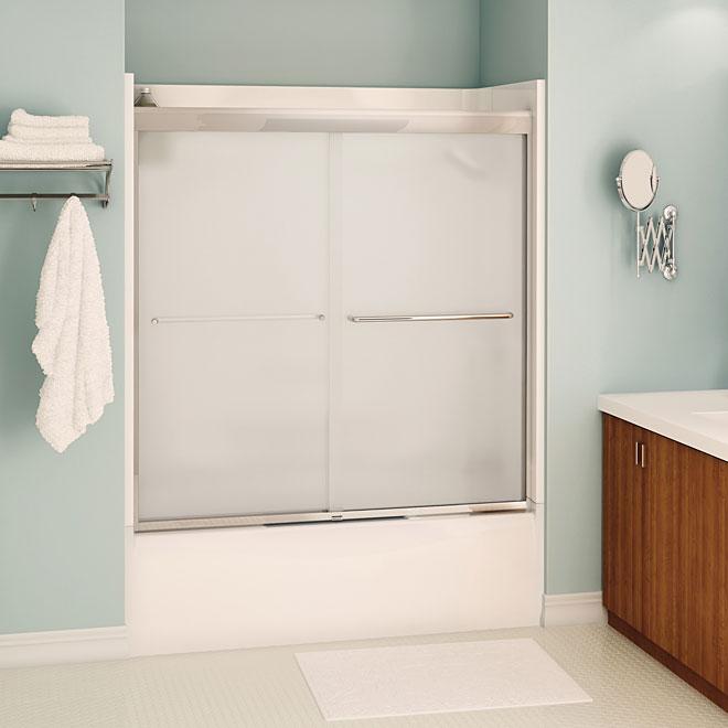 Porte de baignoire coulissante Aura de Maax, 55-59 po x 57 po, verre mistelite, fini chrome