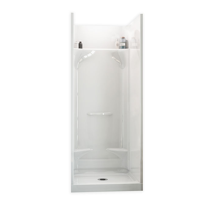 Maax Essence Alcove Shower Kit with Footrests - 32-in x 32-in x 76-in - Fibreglass - White