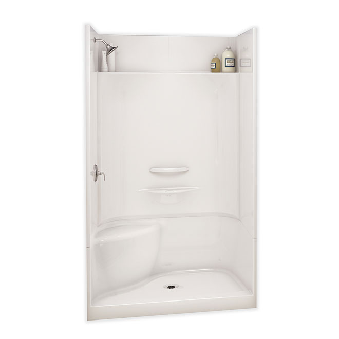 Maax Essence Alcove Shower Kit with Left Seat - 48-in x 34-in x 80-in - Fibreglass - White