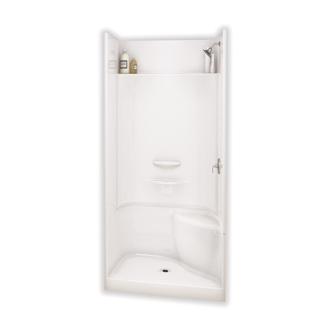 Maax Essence Alcove Shower Kit with Right Seat - 48-in x 34-in x 80-in - Fibreglass - White