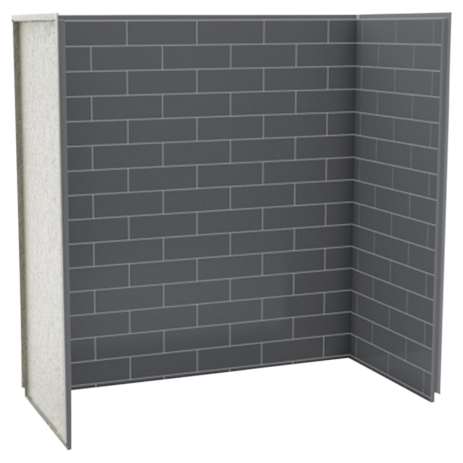 "Shower Wall - 61 1/4"" x 61 1/8"" x 30"" - Thunder Grey"