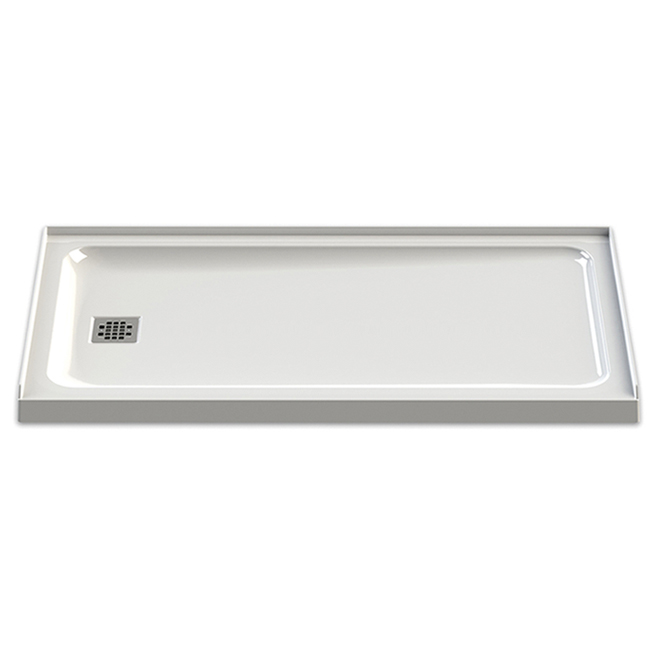 "Olympia Shower Base - Acrylic - Left Drain -60""x32""- White"