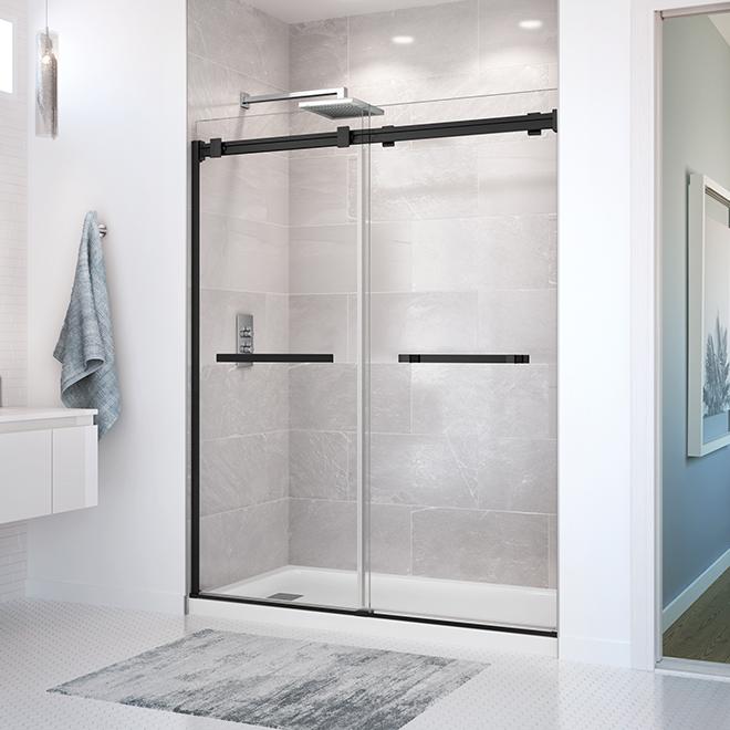 Maax Duel Sliding Shower Door - Matte Black - Frameless - Alcove