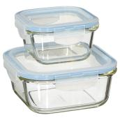 Set of 2 Food Containers- 300/750ml - Borosilicate Glass