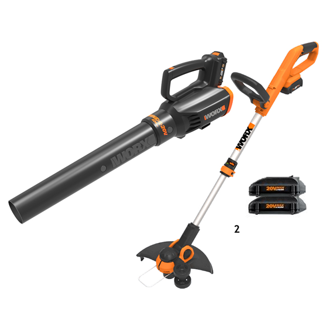 Worx Cordless Trimmer and Blower Kit - 2 Batteries - 20 V