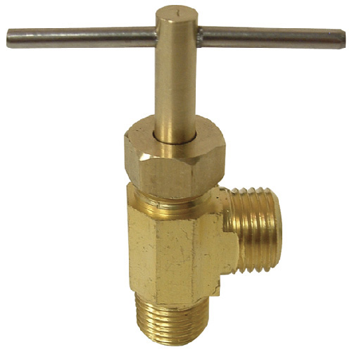 Tee Handle 90° Needle Valve - Brass - 1/4'' x 1/8''