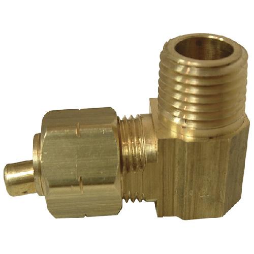 "Elbow - Brass - 90° - 3/8"" x 1/4"" - Tube x MIP"