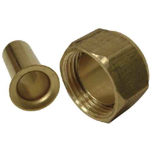 """Compression Nut with Insert - Brass - 5/8"""""""