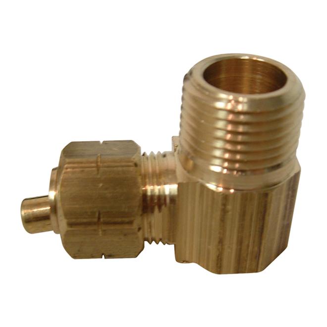 "Elbow - Brass - 90° - 3/8"" x 3/8"" - Tube x MIP"