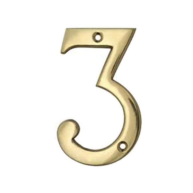 """Solid Brass House Number - 4"""" - No. 3"""