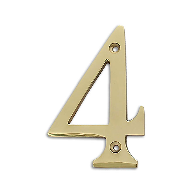 """Solid Brass House Number - 4"""" - No. 4"""