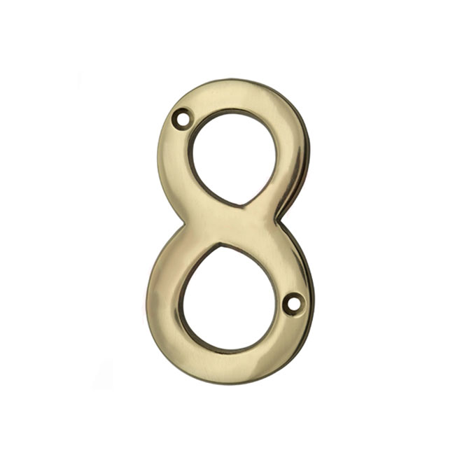 "Solid Brass House Number - 4"" - No. 8"