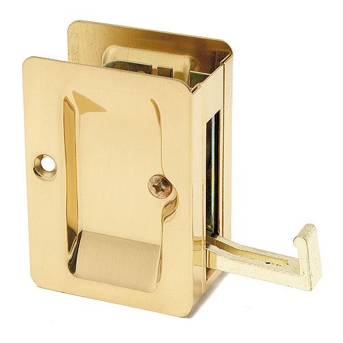 Passage Sliding Door Lock - Polished Brass