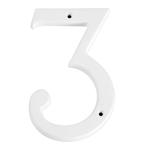 """Nail-On Number - #3 - 6"""" - White"""