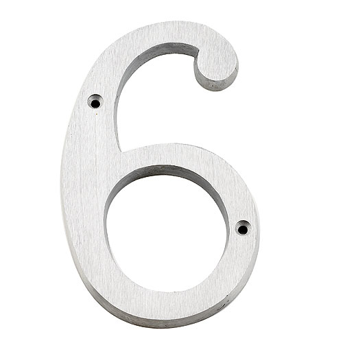 "Nail-On Number - #6 - 6"" - Brushed Aluminum"