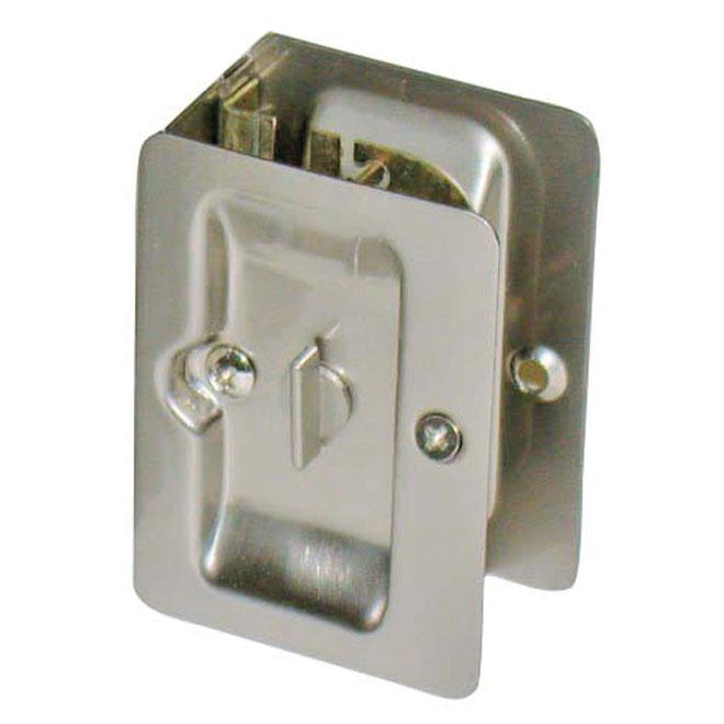 Pocket Door Lock - Brushed Nickel