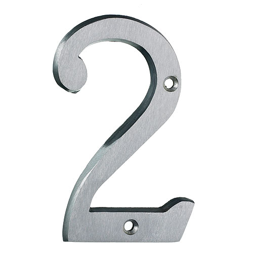 "Nail-On Number - #2 - 4"" - Brushed Aluminum"