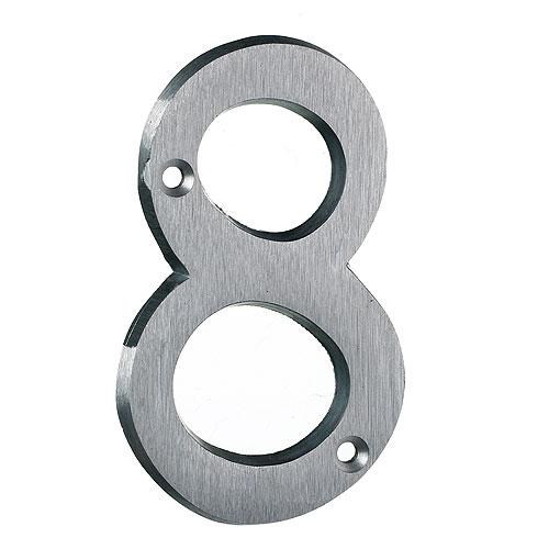 "Nail-On Number - #8 - 4"" - Brushed Aluminum"