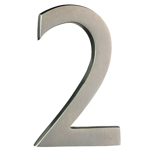 "Solid Brass Number - #2 - 4"" - Satin Nickel Finish"