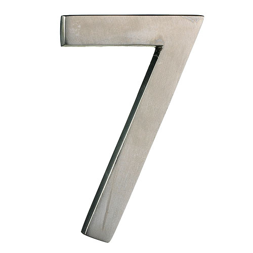 "Solid Brass Number - #7 - 4"" - Satin Nickel Finish"
