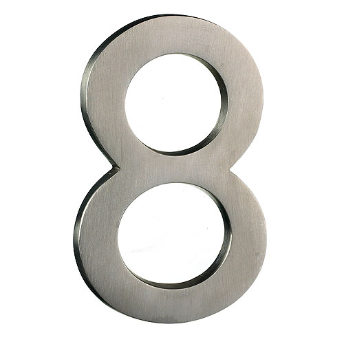 "Solid Brass Number - #8 - 4"" - Satin Nickel Finish"