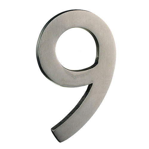 "Chiffre en laiton massif, #9, 4"", fini nickel satiné"