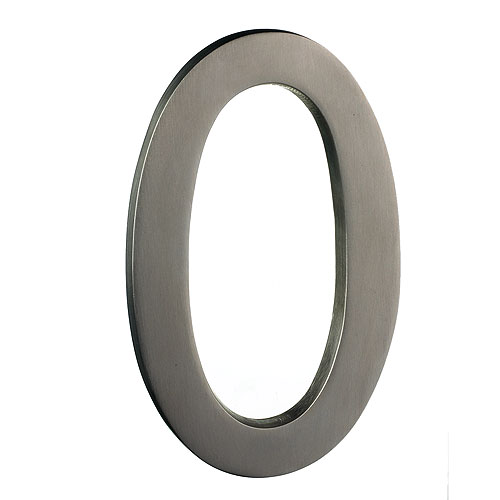 "Solid Brass Number - #0 - 6"" - Satin Nickel Finish"