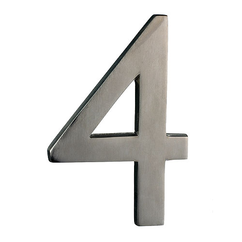 "Solid Brass Number - #4 - 6"" - Satin Nickel Finish"