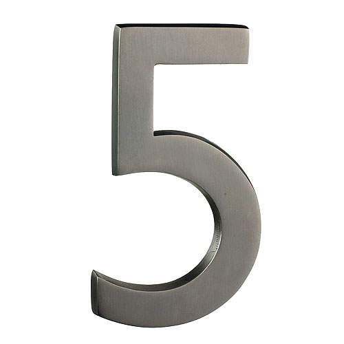 "Solid Brass Number - #5 - 6"" - Satin Nickel Finish"