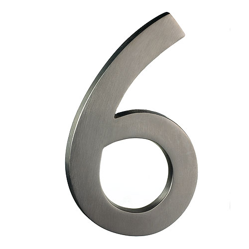 "Solid Brass Number - #6 - 6"" - Satin Nickel Finish"