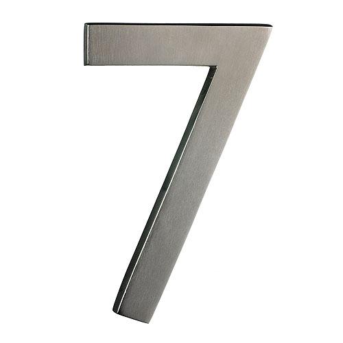 "Solid Brass Number - #7 - 6"" - Satin Nickel Finish"