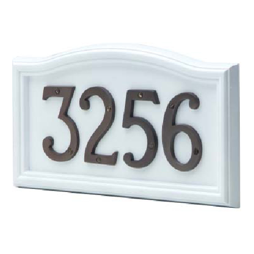 """Classic Curved Address Plate - 8"""" x 14 3/8"""" - White"""
