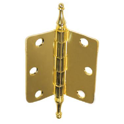 "Decorative Hinge - 3"" x 3""- Polished Brass - 2-Pack"