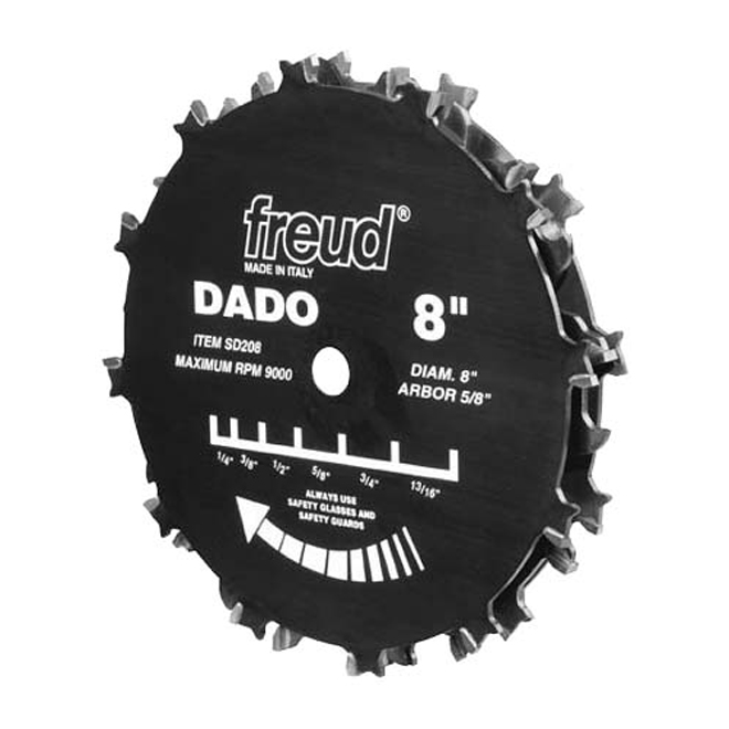 Freud Pro Dado Set - 8-in dia - 9 Piece Dado Set - Adjustable