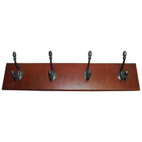 """Wooden Hanging Rack - 4 Metal Double Hooks - 24"""" - Cherry"""